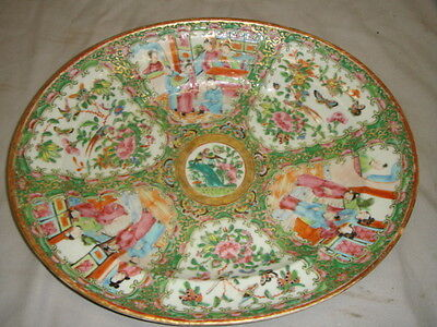 Old Chinese Porcelain Famille Rose Oval Platter 19th Century People & Parrots