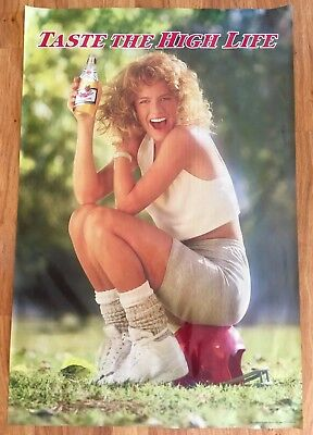 Vintage Miller Brewing Beer Poster Blonde Girl Football Pin-up Man Cave 80s