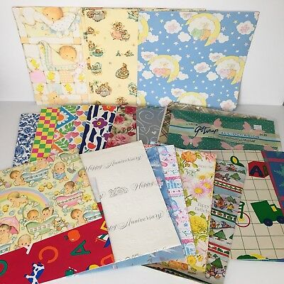 Lot VTG Gift Wrapping Paper Collection Flat Wrap Baby Over 1.5 Pounds 19 Sheets