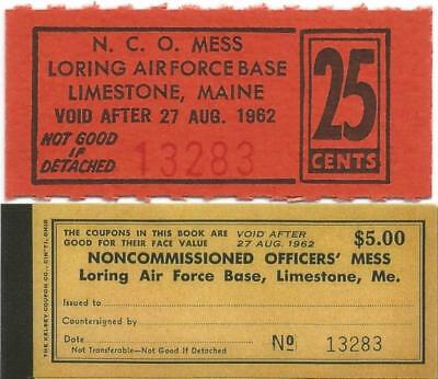 1962 LIMESTONE, MAINE >25¢ NCO Mess< CHIT from Long Closed LORING AIR FORCE BASE