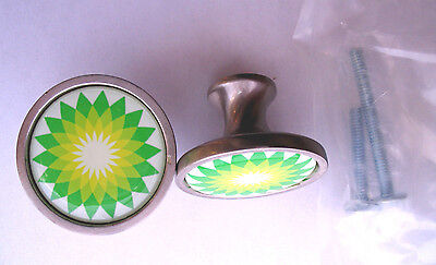 BP Gas Cabinet Knobs, BP Gasoline Logo Cabinet Knobs, British Petroleum Knobs