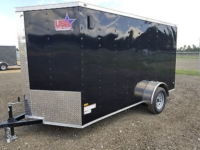 6x12 6 x 12 Enclosed Trailer Cargo Single Axle V-Nose Motorcycle Utility 10 14
