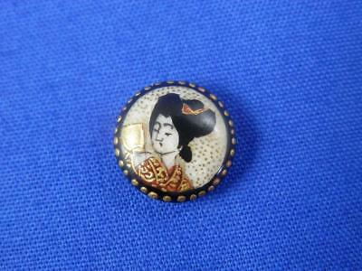 Japanese 1870's Meilji Period Satsuma Button of Geisha with Gold Accents