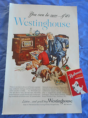 vintage paper color full page advertisement Westinghouse Radio gram in Cabinet