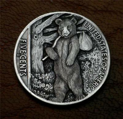"Hobo Nickel ""I Just Can't BEAR To Stick Around"" Coin Howard Thomas"