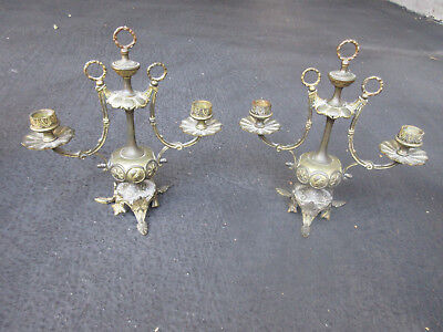 "French Neo Classical Antique Ornate Gilt Bronze 10.5"" Pair Mantle Candelabras"
