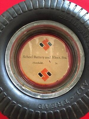 Vintage Scheel Battery And Elect. Sta. Seiberling Tire/Glass insert Ashtray