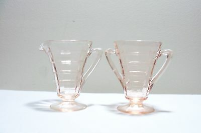Pink Depression Glass Block Optic Footed Creamer and Sugar