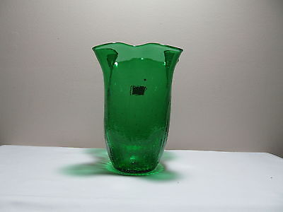 Crackle Glass Folded Vase Viking Glass MINT
