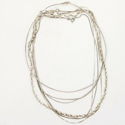 Sterling Silver Lot of 7 Herringbone Snake Chain Necklaces NOT SCRAP - 24g
