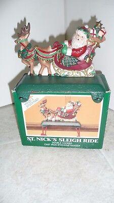 Midwest of Cannon Falls Cast Iron St Nick Double Xmas Stocking Hanger Pre-Owned