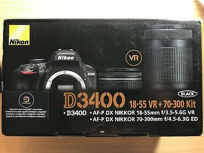 Nikon D3400 24.2MP DSLR w/ DX VR Nikkor 18-55mm & 70-300mm Lens bundle