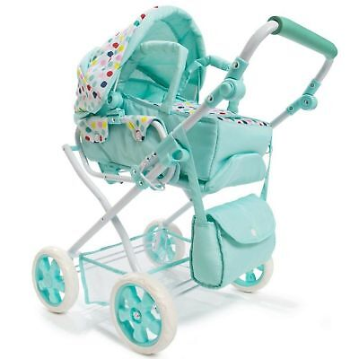 Spot Doll Pram & Bag Set of 3 Baby Mint Green, Stroller Play Pretend Toy Playset