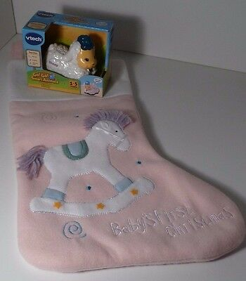 1 Baby's First Christmas Stocking Pink With Rocking Horse With New Starter Toy