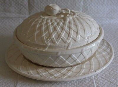 Hartley Greens Pottery Leeds Creamware Covered Vegetable Dish Tureen & Stand