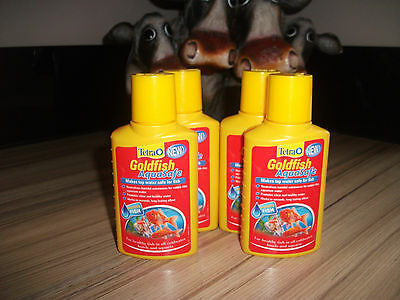TETRA AQUARIUM GOLDFISH AQUASAFE x4 100ML  WATER SAFE CONDITIONER TREATMENT TANK