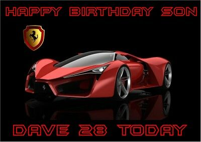 personalised birthday card ferrari sports car any name/age/relation