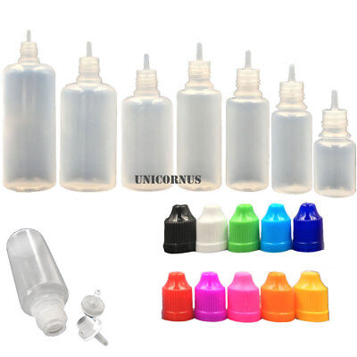 10 Pack 3ml-100ml Plastic Squeezable Dropper Liquid Juice Bottles LDPE + Funnels
