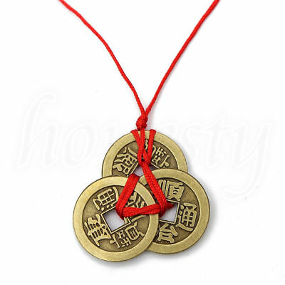 Chinese FengShui Lucky Faith Ancient Coin Necklace Wealth Health Exorcise-evil