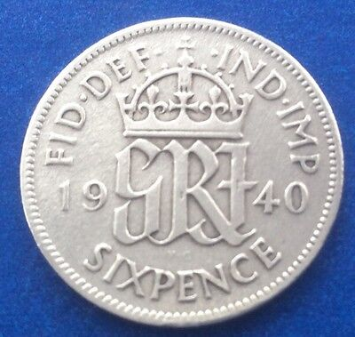 1940 King George Vi Silver Sixpence Coin