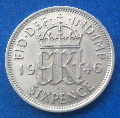 1946 King George Vi Silver Sixpence Coin
