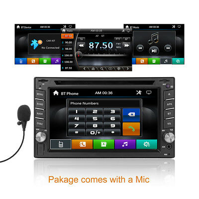 "6.2""Bluetooth Car Stereo Receiver DVD Player iPhone Carplay Touchscreen 2DIN Mic"