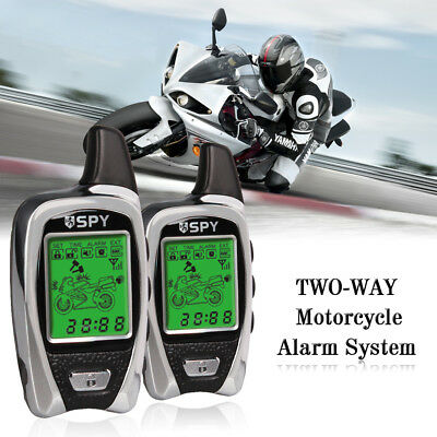 SPY 5000m Motorbike Motorcycle Alarm 2 WAY LCD Transmitters Remote Engine Start