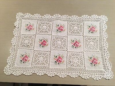 Embroidered & Crocheted Cotton Doyley