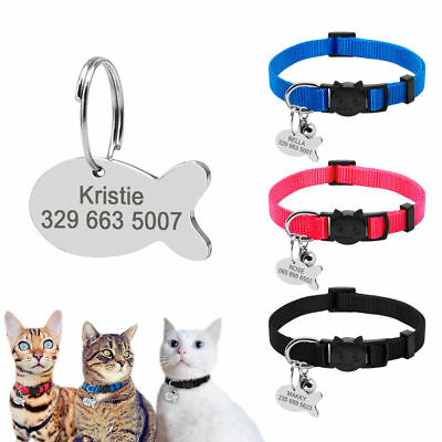 Puppy Pet Dog Kitten Cat Breakaway Collar& Tag Disc Custom Safety Quick Release