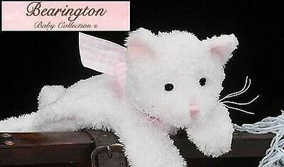 Bearington Collection Baby Soft White Rattle Kitty Plush Cat Baby Toy Pink Bow