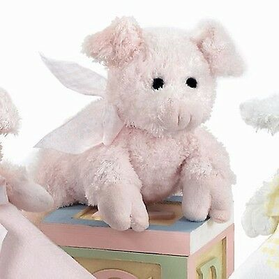 Bearington Collection Baby Soft Pink Rattle Piglet Plush Pig Baby Toy Check Bow