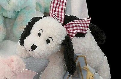 Bearington Collection Baby Soft White Rattle Puppy Plush Dog Baby Toy Check Bow
