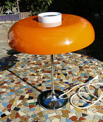Ancienne  rare lampe  ARLUS vintage design 70 pop art reflecteur métal orange