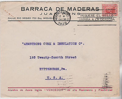 1929 Attractive Uruguay Stamp On Montevideo Cover Sent To Pittsburgh Pa Usa