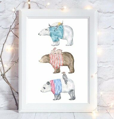 3 Bears Winter Print Baby Christening Gift Nursery Wall Art Picture
