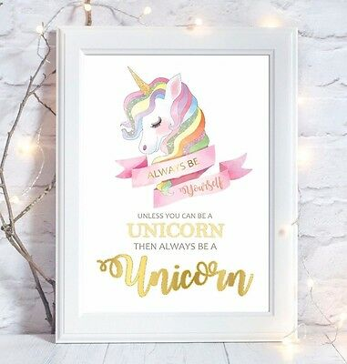 Unicorn Quote Picture Print Nursery Room Wall Art Gift Decor Christening Gift
