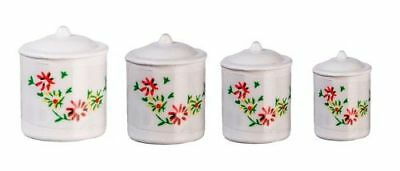 Miniature Dollhouse Fairy Garden White Canisters - Set of 4 - Buy 3 Save $5