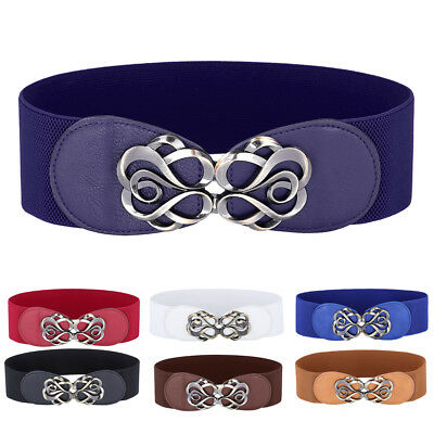 Women Fashion Metal Floral Elastic Stretch Buckle Wide Waist Belt Band S-3XL