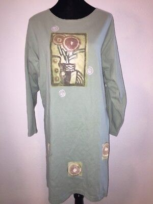 Blue Fish Women's L/S Green One Size fits all Organic Cotton Tunic Top Ll1