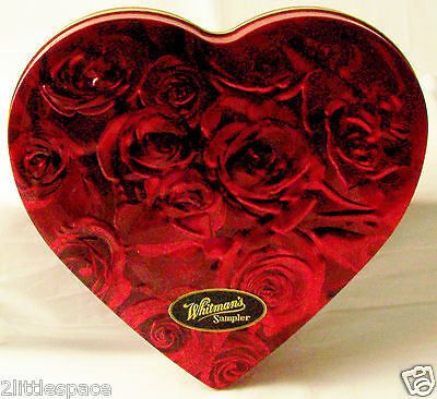 """Heart Shaped Tin Whitman's Red Rose Empty Container Can Box Embossed Lid 10""""x10"""""""