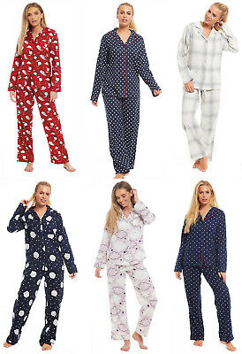 Ladies Brushed Cotton Pyjamas Womens 100% Buttoned Collar Winter Novelty Wincy