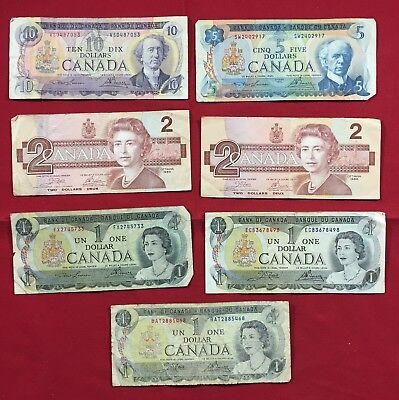 Lot of 7 Bills Canada Banknote Collection $1 $2 $5 $10 SP15
