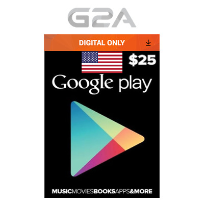 $25 USD Google Play Gift Card - 25 US Dollars Code USA Android Store Prepaid Key