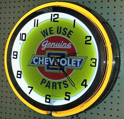 "We Use Genuine Chevrolet Parts Chevy 18"" Double Neon Clock Choice of Neon Color"