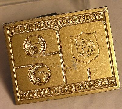 Salvation Army - BRASS PLATE - SALVATION ARMY WORLD SERVICES - GOLD COLOR
