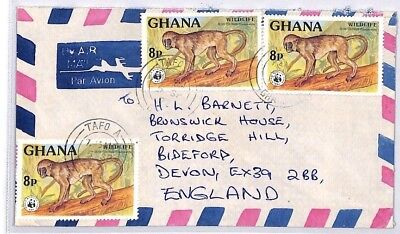 BQ79 1977 Ghana Tafo Akin Devon Great Britain Airmail Cover {samwells} PTS