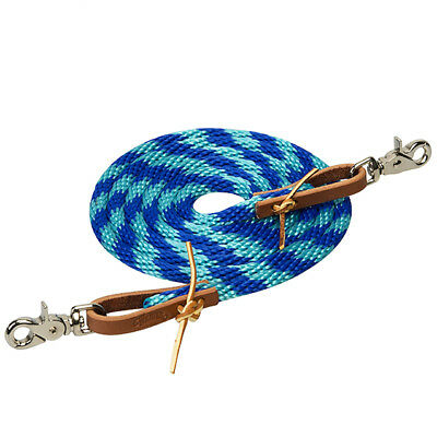 """3/8"""" X 8' Weaver Leather Ends Poly Roper Rein W/ Scissor Snap Turquoise"""