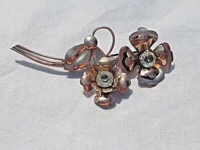 Vintage Sterling Silver Gold Tone Rhinestone Floral Brooch Pin, Estate Jewelry