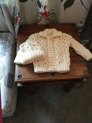 Hand Knitted Babies Cardigan&hat Cream Aran Cable 6-12 Mn