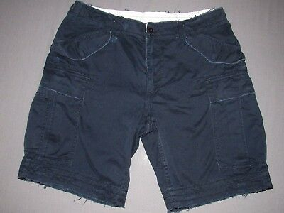 Men's Polo Ralph Lauren Navy Blue Distressed Heavy Army Chino Cargo Shorts 36
